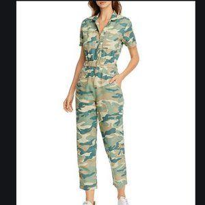 MOTHER Denim Camo Print Zip Front Ankle Jumpsuit